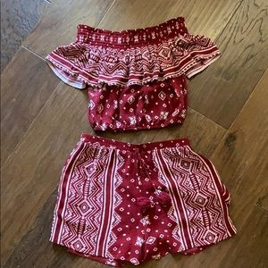 Red and White Matching Set